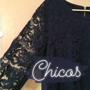 NWT Chico's Lace Sleeve Top - Size 2/Large